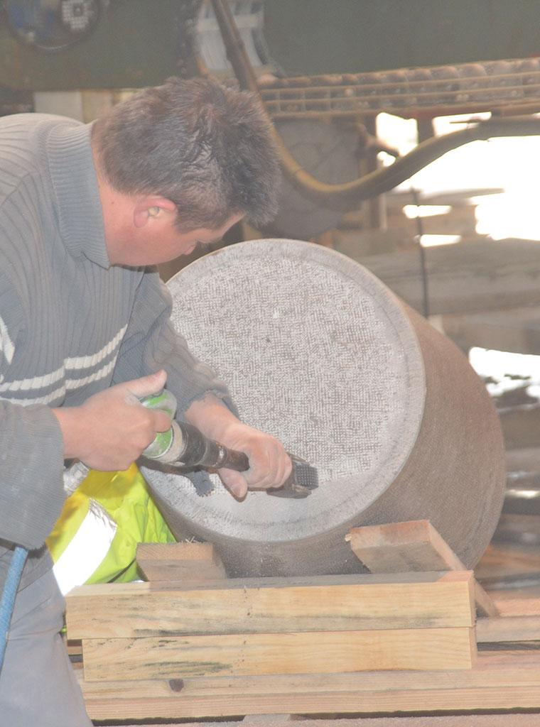 Hammering stonemason workshop