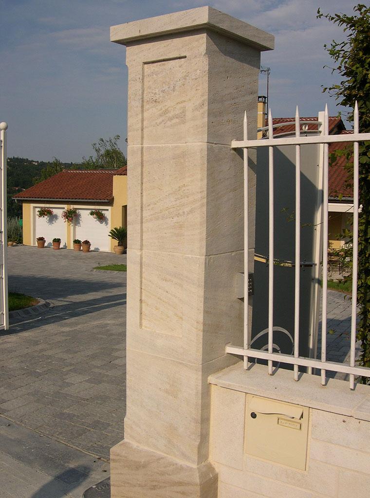 Burgundy stone pillar