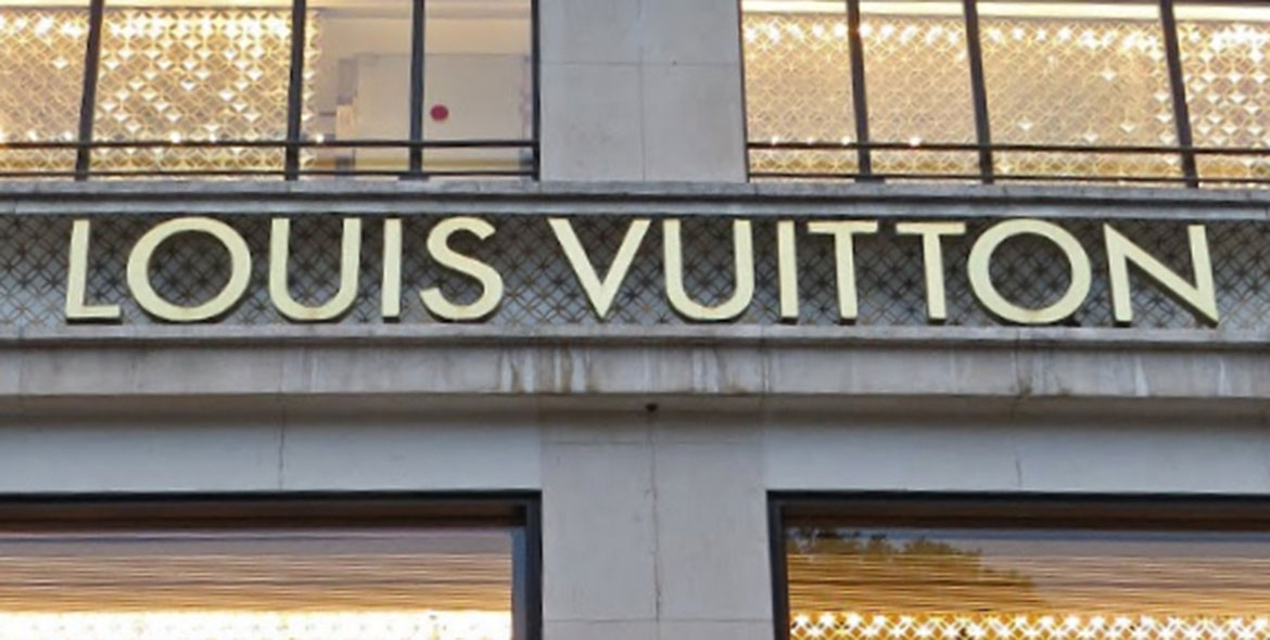 Louis Vuitton facade on the Champs-Elysées in Paris