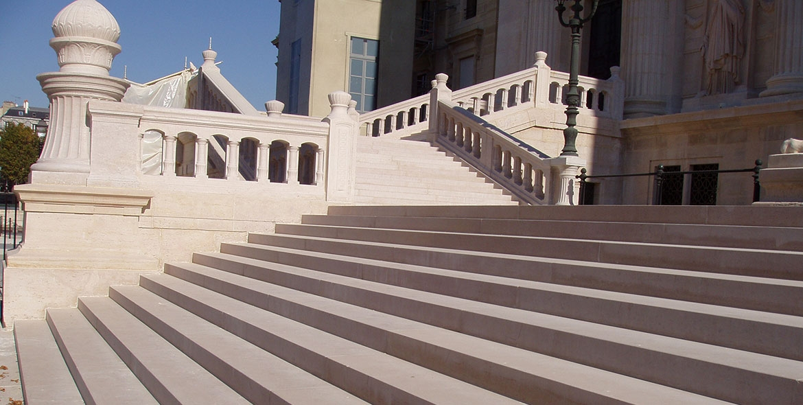 Monumental stair in front of the Palais de Justice in Paris