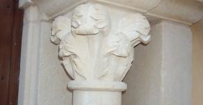 Hand made capital in Burgundy stone