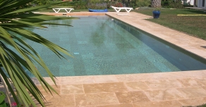 Pool edges with Burgundy stone